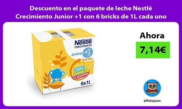 Descuento en el paquete de leche Nestlé Crecimiento Junior +1 con 6 bricks de 1L cada uno