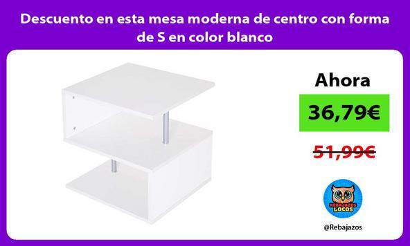 Descuento en esta mesa moderna de centro con forma de S en color blanco