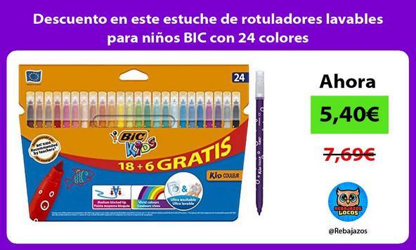 Descuento en este estuche de rotuladores lavables para niños BIC con 24 colores