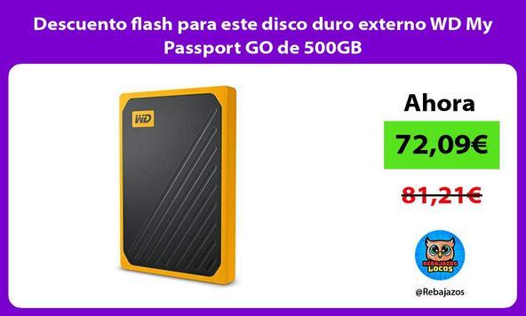 Descuento flash para este disco duro externo WD My Passport GO de 500GB