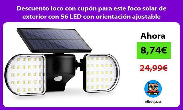 Descuento loco con cupón para este foco solar de exterior con 56 LED con orientación ajustable