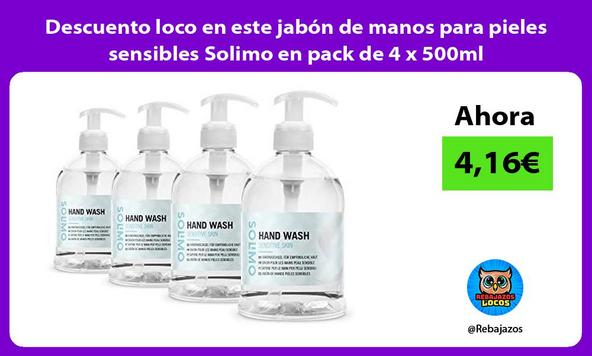 Descuento loco en este jabón de manos para pieles sensibles Solimo en pack de 4 x 500ml