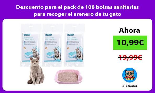 Descuento para el pack de 108 bolsas sanitarias para recoger el arenero de tu gato