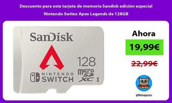 Descuento para esta tarjeta de memoria Sandisk edición especial Nintendo Switex Apex Legends de 128GB
