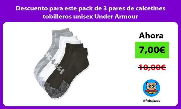 Descuento para este pack de 3 pares de calcetines tobilleros unisex Under Armour