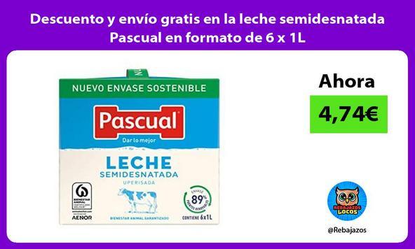 Descuento y envío gratis en la leche semidesnatada Pascual en formato de 6 x 1L