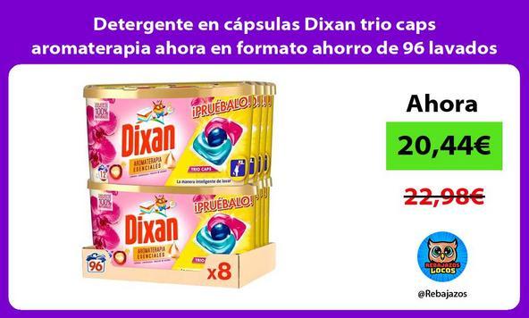 Detergente en cápsulas Dixan trio caps aromaterapia ahora en formato ahorro de 96 lavados
