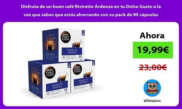 Disfruta de un buen café Ristretto Ardenza en tu Dolce Gusto a la vez que sabes que estás ahorrando con su pack de 90 cápsulas