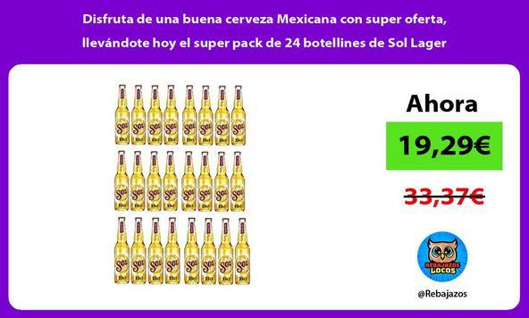 Disfruta de una buena cerveza Mexicana con super oferta, llevándote hoy el super pack de 24 botellines de Sol Lager