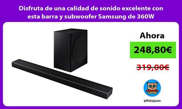 Disfruta de una calidad de sonido excelente con esta barra y subwoofer Samsung de 360W