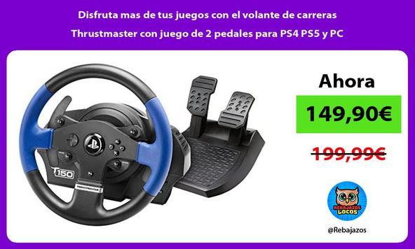 Disfruta mas de tus juegos con el volante de carreras Thrustmaster con juego de 2 pedales para PS4 PS5 y PC