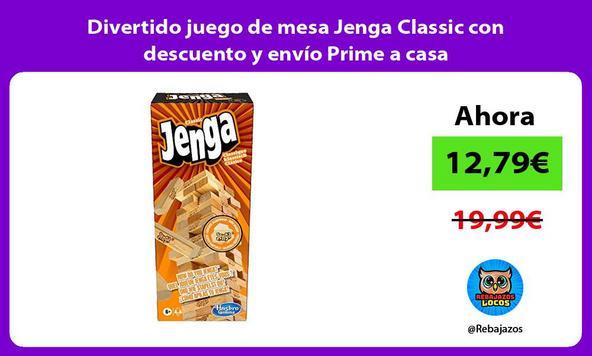 Divertido juego de mesa Jenga Classic con descuento y envío Prime a casa