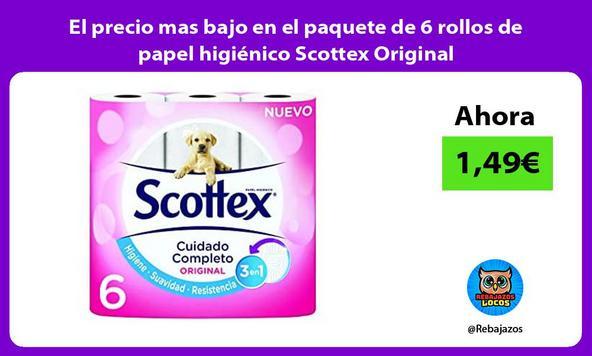 El precio mas bajo en el paquete de 6 rollos de papel higiénico Scottex Original