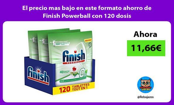 El precio mas bajo en este formato ahorro de Finish Powerball con 120 dosis