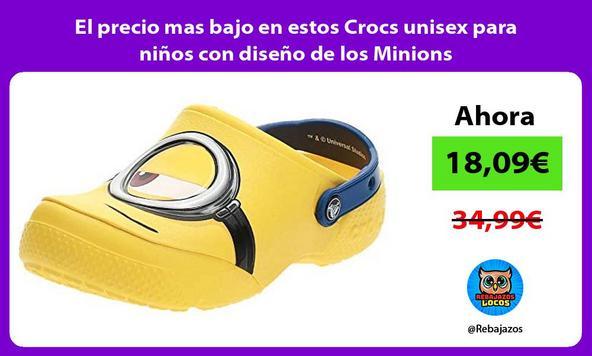 El precio mas bajo en estos Crocs unisex para niños con diseño de los Minions