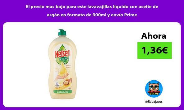 El precio mas bajo para este lavavajillas líquido con aceite de argán en formato de 900ml y envío Prime