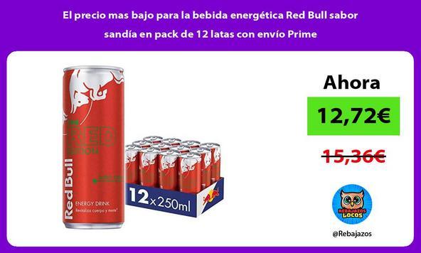 El precio mas bajo para la bebida energética Red Bull sabor sandía en pack de 12 latas con envío Prime