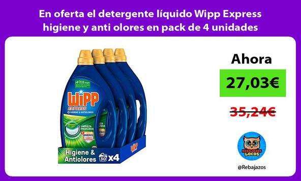 En oferta el detergente líquido Wipp Express higiene y anti olores en pack de 4 unidades