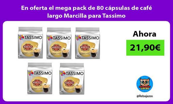 En oferta el mega pack de 80 cápsulas de café largo Marcilla para Tassimo