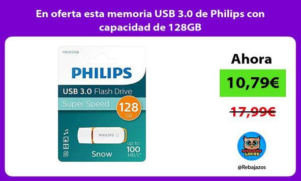 En oferta esta memoria USB 3.0 de Philips con capacidad de 128GB