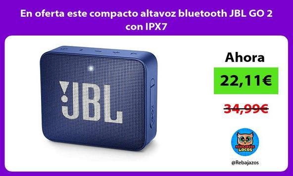 En oferta este compacto altavoz bluetooth JBL GO 2 con IPX7