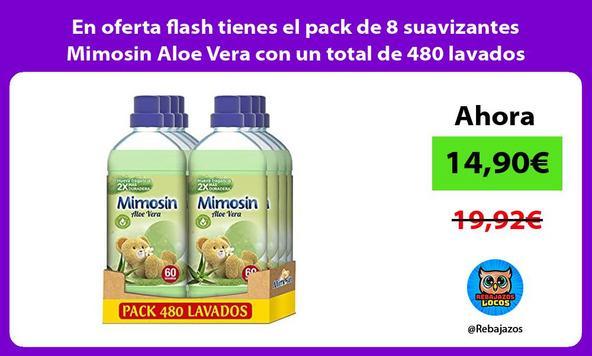 En oferta flash tienes el pack de 8 suavizantes Mimosin Aloe Vera con un total de 480 lavados