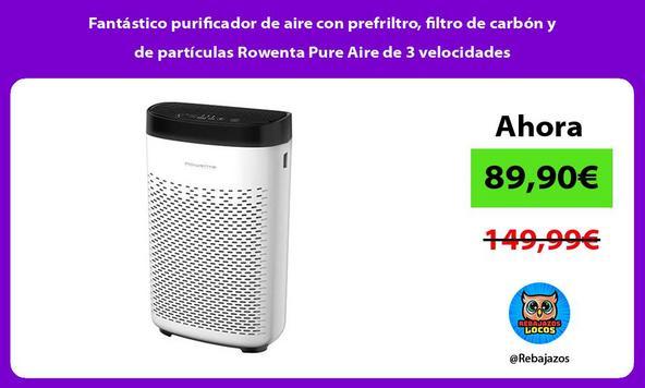 Fantástico purificador de aire con prefriltro, filtro de carbón y de partículas Rowenta Pure Aire de 3 velocidades