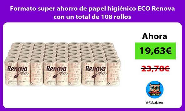Formato super ahorro de papel higiénico ECO Renova con un total de 108 rollos