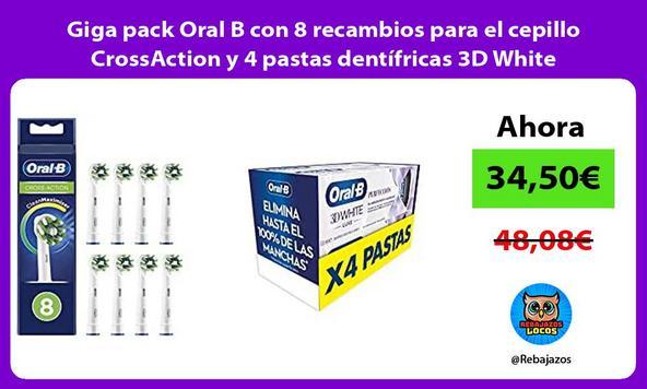 Giga pack Oral B con 8 recambios para el cepillo CrossAction y 4 pastas dentífricas 3D White