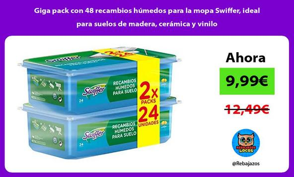 Giga pack con 48 recambios húmedos para la mopa Swiffer, ideal para suelos de madera, cerámica y vinilo