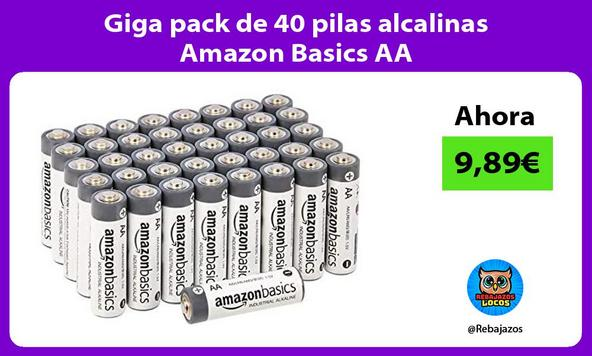 Giga pack de 40 pilas alcalinas Amazon Basics AA