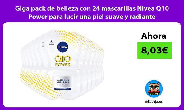 Giga pack de belleza con 24 mascarillas Nivea Q10 Power para lucir una piel suave y radiante