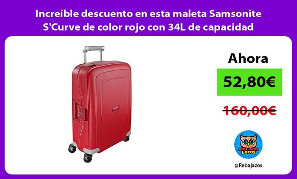 Increíble descuento en esta maleta Samsonite S'Curve de color rojo con 34L de capacidad