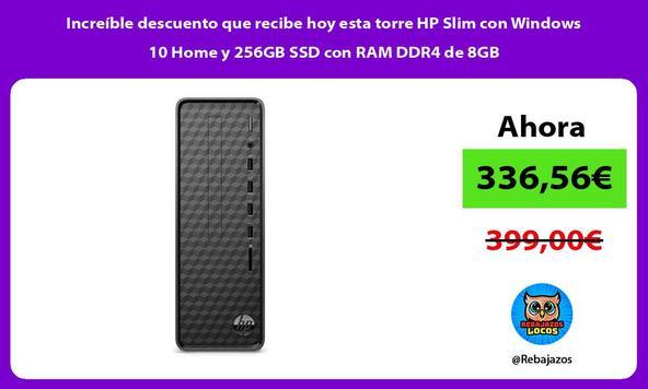Increíble descuento que recibe hoy esta torre HP Slim con Windows 10 Home y 256GB SSD con RAM DDR4 de 8GB