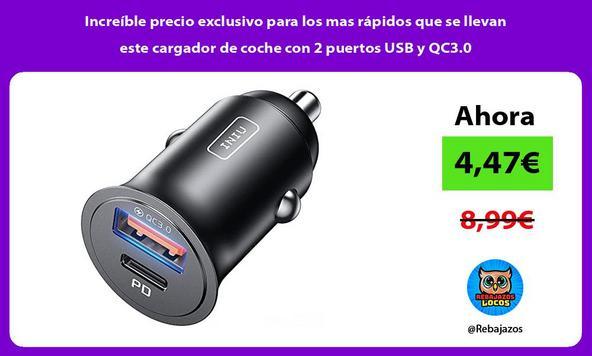 Increíble precio exclusivo para los mas rápidos que se llevan este cargador de coche con 2 puertos USB y QC3.0