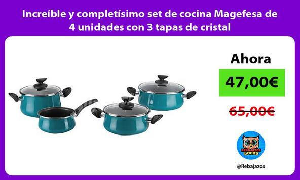 Increíble y completísimo set de cocina Magefesa de 4 unidades con 3 tapas de cristal