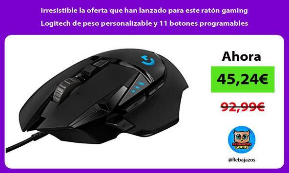 Irresistible la oferta que han lanzado para este ratón gaming Logitech de peso personalizable y 11 botones programables