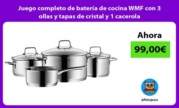 Juego completo de batería de cocina WMF con 3 ollas y tapas de cristal y 1 cacerola