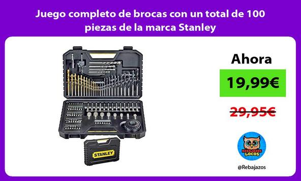 Juego completo de brocas con un total de 100 piezas de la marca Stanley