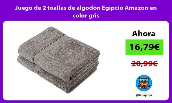 Juego de 2 toallas de algodón Egipcio Amazon en color gris