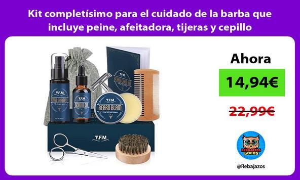 Kit completísimo para el cuidado de la barba que incluye peine, afeitadora, tijeras y cepillo
