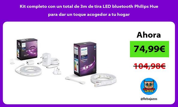 Kit completo con un total de 3m de tira LED bluetooth Philips Hue para dar un toque acogedor a tu hogar