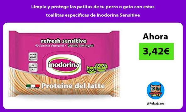 Limpia y protege las patitas de tu perro o gato con estas toallitas específicas de Inodorina Sensitive