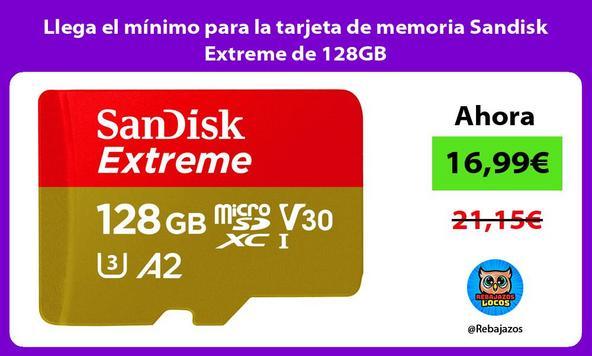 Llega el mínimo para la tarjeta de memoria Sandisk Extreme de 128GB