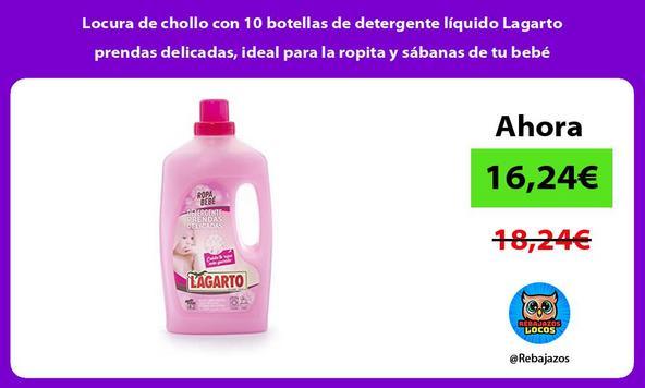 Locura de chollo con 10 botellas de detergente líquido Lagarto prendas delicadas, ideal para la ropita y sábanas de tu bebé