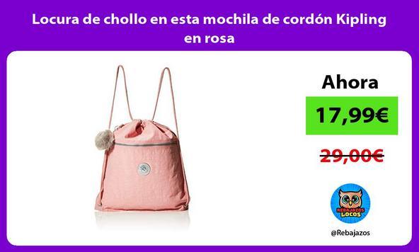 Locura de chollo en esta mochila de cordón Kipling en rosa
