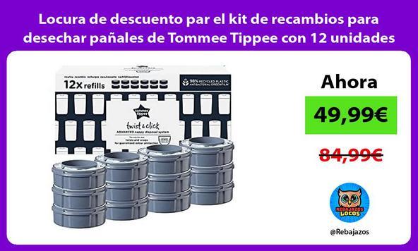 Locura de descuento par el kit de recambios para desechar pañales de Tommee Tippee con 12 unidades