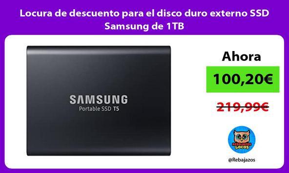Locura de descuento para el disco duro externo SSD Samsung de 1TB