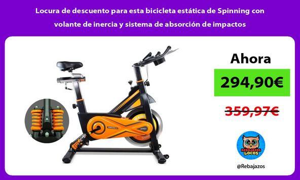 Locura de descuento para esta bicicleta estática de Spinning con volante de inercia y sistema de absorción de impactos