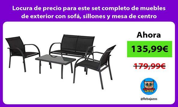Locura de precio para este set completo de muebles de exterior con sofá, sillones y mesa de centro